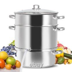 11-Quart Stainless Steel Fruit Vegetable Juicer Steamer Versatile Ergonomic NEW