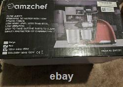 AMZCHEF Slow Juicer, Professional Cold Press Juicer Extractor Machine, Quiet RED