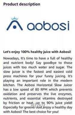 Aobosi Slow Juicer AMR520 Masticating Extractor Compact Cold Press