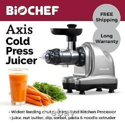 Cold Press Juicer BioChef Axis, Masticating, Slow, Celery Juice, Fruit Silver