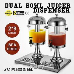 Double Bowls 4.2Gal Juice Dispenser 16L Beverage Fruit Juicer Cold Drink