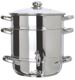 Euro Cuisine Steam Juicer Stainless Steel Stove Top Cooker Kitchen Fruit Juice