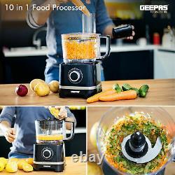 Geepas 800W 10-in-1 Food Processor Blender Chopper Juicer Dough Blade Shredder