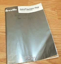 Genuine Breville (JE95XL) Juice Fountain Plus 2-Speed Juicer Extractor READ