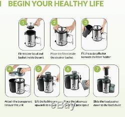 Juicer Machine Extractor 600W Electric Anti Drip Dual Speed Jug Pulp Container