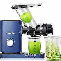 Juicer Machines AMZCHEF Cold Press Slow Juicer Slow Masticating Juicer BLUE
