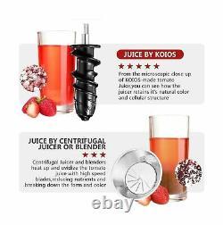 Koios Slow Masticating Juicer Extractor Machine Cold Press BPA Free Black White