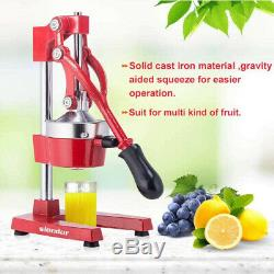 (Red) Manual Fruit Squeeze Citrus Juicer Commercial Hand Press Juice