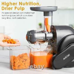 Slow Masticating Cold Press Juicer Quiet Motor High Nutrient Juice Maker