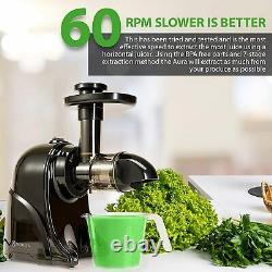 Slow Masticating Horizontal Juicer Cold Press Extractor Natural Juice Maker