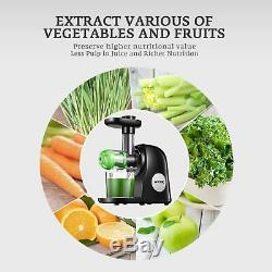 Slow Masticating Juicer Extractor Cold Fresh Whole Fruit Vegetable Press Machine