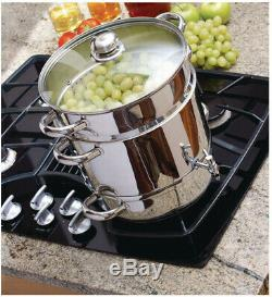 Stove Top Steamer Juicer Set 3-Piece Stainless Steel Glass Lid Recipe Book