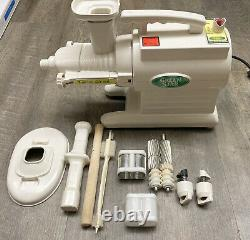 Tribest Green Star GS-1000 Twin Gear Juice Extractor Juicer With Accessories WORKS
